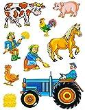 Unbekannt 9 tlg. Set _ Fensterbilder -  Bauernhof - Tiere & Traktor  - Sticker Fenster..