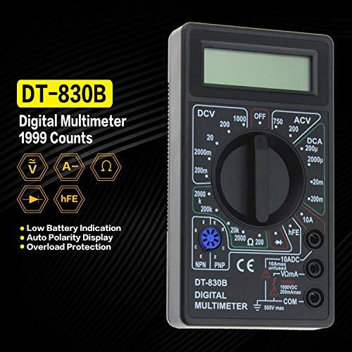 DT-830B Mini-Taschen-Digital-Multimeter 1999 zählt AC/DC Volt Amp Ohm-Diode HFE Tester Amperemeter Voltmeter Ohmmeter (Farbe: Schwarz)
