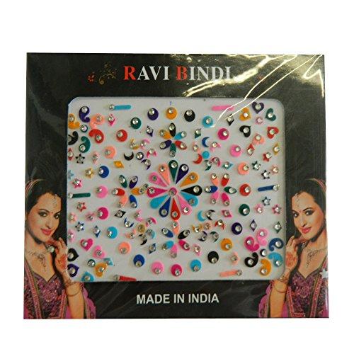 Bindis 144 Stück Stirnschmuck Kärtchen Karte selbstklebend Bollywood Schmuck Indien Hinduismus