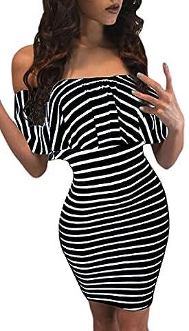 FemPool - Robe - Moulante - Manches Courtes - Femme - noir - S