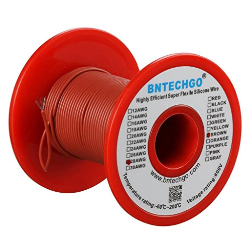 BNTECHGO 28 Gauge Silicone Wire 100 Feet Brown Soft and Flexible High Temperature Resistant Highly Efficient 28 AWG Silicone Wire 16 Strands of Tinned Copper Wire -