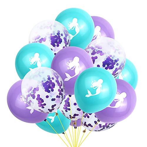 Amosfun 15 stücke Meerjungfrau Geburtstag Ballons konfetti Ballons Latexballons für Meerjungfrau themenorientierte Geburtstag Baby Shower Hochzeit Dekorationen (Wie Gezeigt)