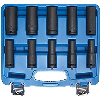 BGS technic 5206 Boîte de 10 douilles pour clé à choc profonde, 12,5mm, 10–24mm