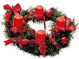 Best Season Adventskranz mit 4 Wachs-LED-Kerzen, Durchmesser circa 40 cm, warm weiß LED, batteriebetrieben inklusiv Batterien, Sichtkarton, rot/gold Dekoration 004-53
