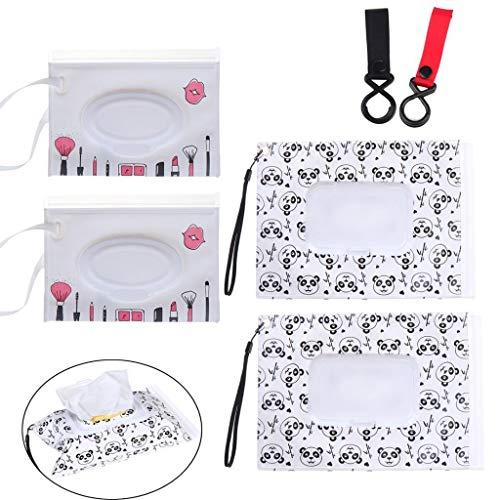 NIU MANG - 4 Bolsas de toallitas húmedas + 2 Ganchos para Cochecito de bebé, dispensador de toallitas de Viaje con patrón de Dibujos Animados de Panda, Reutilizable, Bolsa de toallitas húmedas