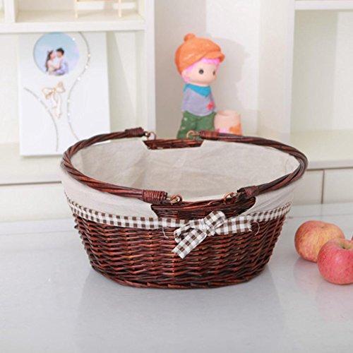 YQ QY Einkaufskorb Rattan Weidenpicknickkorb Küche Speicher Geschenk, a, 2#