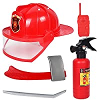 Newin Star Fireman Backpack Fire Suit Tool and Fire Extinguisher and Fire Cap for Children 1PC