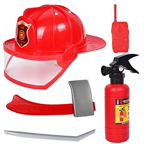 Isuper 5- Teiliges Feuerwehrmann Rucksack Feueranzug Werkzeug Feuerlöscher Helm für Kinder Rollenspiel Spielzeug (Weihnachten Im Zusammenhang Kostüm)