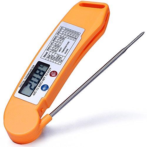 MANLEHOM istante leggere termometro digitale con sonda per la cucina, cucinare all'aperto, barbecue, cibo, carne, caffè, latte e la temperatura dell'acqua vasca-Arancia