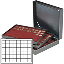 Lindner 2365-2748E Estuche monedas NERA XL para 144 placas de cava - rojo oscuro