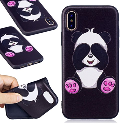 Custodia per iPhone X Cover , YIGA Nero Moda Gufo Silicone Morbido TPU molle Case Flessibile Protezione Shell Cover per Apple iPhone X (5,8 pollici) BF36