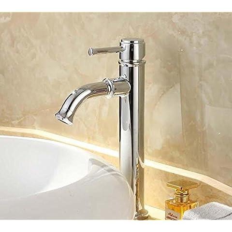 BFDGN Semplice Morden durevole e robusto il rame spazzolato per rubinetti lavandini bagno Elegante ogni singolo foro singolo di corrosione in acciaio inox resistente a caldo e a freddo Rubinetti per lavandini bagno (Dare 1/2 Hot &a freddo dei tubi flessibili acqua )
