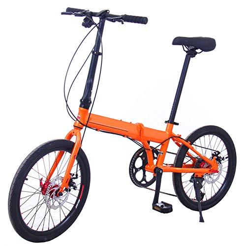 WHKJZ Unisex Rahmen Aluminiumlegierung Faltbares Fahrrad 20 Zoll 9 Gang Freilauf Kettenschaltung Tragen und langlebig Reibungslose,Orange