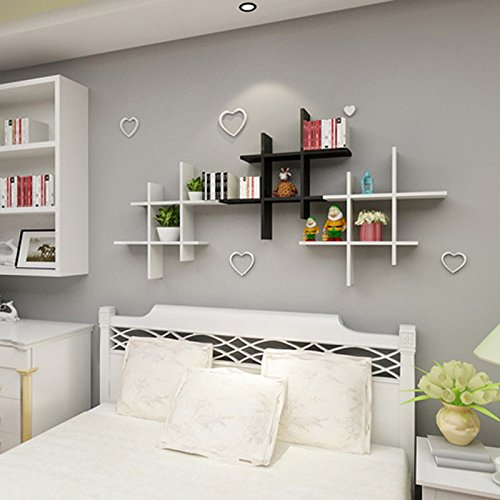 homdox modern holz wandregal set b cherregal h ngeregal holzregal b cher cd regal wei smash. Black Bedroom Furniture Sets. Home Design Ideas