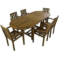 Conjunto de jardín de Madera Teca | Mesa Ovalada Extensible 160/210 cm y 6 sillones apilables | Madera Teca Grado A | Tratamiento al Agua aplicado | Portes Gratis