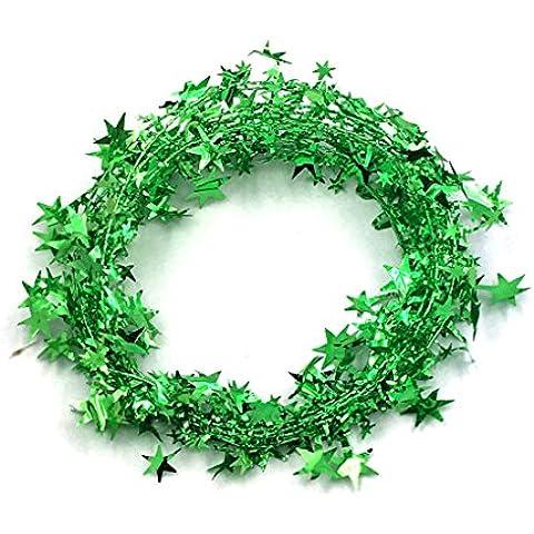 Regalos de Navidad Adornos de la estrella de la cinta colorida guirnalda con la cadena de alambre de hierro