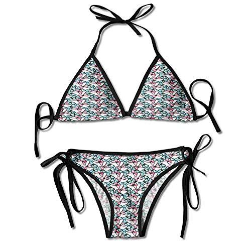 Bikini Two Piece Swimsuit Abstract Butterflies Pattern Printing Bikini for Women Butterfly Thong Sandal
