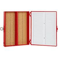 Heathrow Scientific HD15994C - Caja para portaobjetos (revestimiento interior de corcho, plástico ABS, capacidad: 100 portaobjetos, longitud x anchura x altura: 208 mm x 175 mm x 34 mm), color rojo
