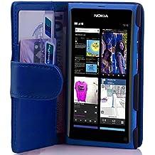 Cadorabo - Book Style Hülle für Nokia Lumia 800 - Case Cover Schutzhülle Etui Tasche mit Kartenfach in BRILLANT-BLAU