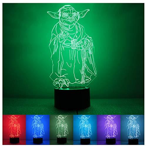 Veilleuse 3D, Jedi Knight Yoda Veilleuse 1.5W Creative Sept couleurs LED Veilleuse et contrôle de la luminosité