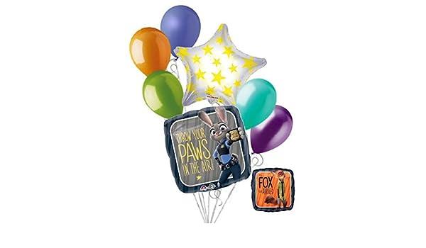 7 Pc Disney Zootopia Balloon Bouquet Party Decoration Happy Birthday Fox Judy Amazoncouk Toys Games