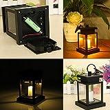 Lámpara de mesa de vela, funciona con energía solar, LED para jardín y exterior, lámpara de mesa de vela colgante, color negro, tamaño Tamaño libre