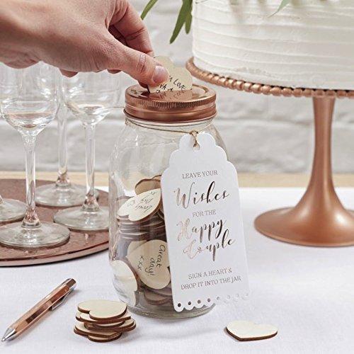 Ginger Ray Wishing Bocal et c?urs en bois Alternative livre d'or pour mariage?Superbe Botanics