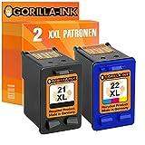 Gorilla-Ink® Set 2x Tintenpatrone XXL remanufactured für HP 21 XL & 22 XL PSC 1400 1402 1410 1410XI 1415 Fax 1250 1250XI DeskJet F310 F325 F370 F335 F340
