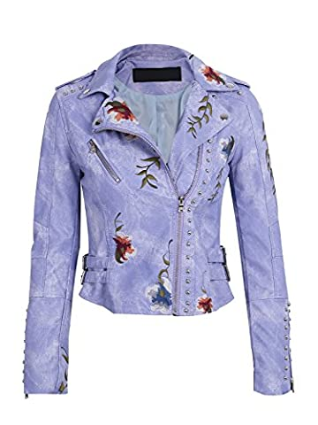 Simplee Apparel Women's Punk Embroidered Lapel Faux Leather Biker Short Jacket Outwear Purple 1 L= UK 12