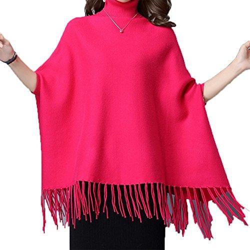 Rot Kleid Flapper Größe Plus (YUYU Frauen Langarm-beiläufige lose T-Shirt-Kleid Knitting Schal Jacke , rose red ,)