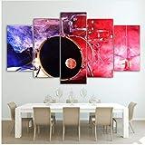 LQWE 3D Leinwandbild Wand Kunst Hd gedruckt Bilder Modular Living Room Home Decor 5 Stück Musik Schlagzeug Leinwand Malerei Farbe Rauch Poster