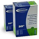 SCHWALBE AV7 (20x1.75-2.50 Zoll) 2 Stück Fahrradschlauch mit Auto Ventil, für Kinderrad + 3 Stück Schwalbe Reifenheber