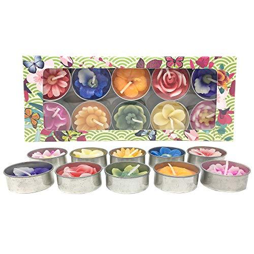 Laeto Home Duftblumen Teelicht-Set, 10 Stück, ideal Geschenkset für Frauen, 10einzigartige Kerzen und Blumen handgefertigt in Thailand, in Geschenkbox Blumen-kerze