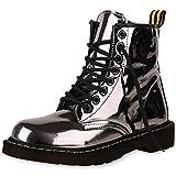 SCARPE VITA Damen Stiefeletten Worker Boots Metallic Schnürstiefel Outdoor 164171 Grau Metallic 37