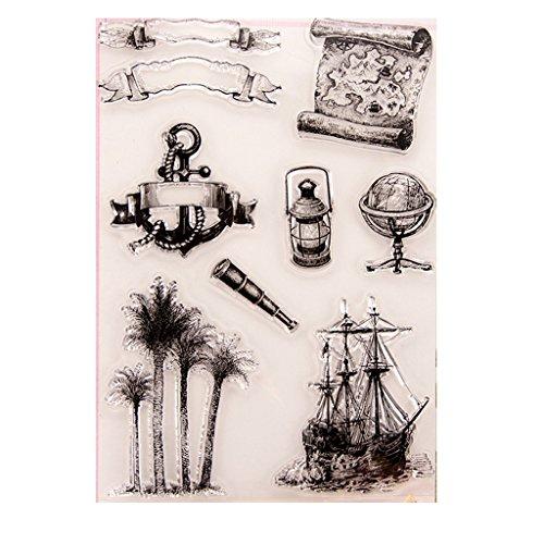 ECMQS Anchor Sailboat DIY Transparente Briefmarke, Silikon Stempel Set, Clear Stamps, Schneiden Schablonen, Bastelei Scrapbooking-Werkzeug
