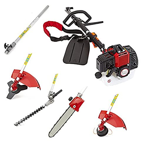NEW TRUESHOPPING® 52CC 'TOTAL GARDENERX5' PETROL LONG REACH MULTI FUNCTION 5 IN1 GARDEN TOOL INCLUDING: HEDGE TRIMMER, STRIMMER, BRUSHCUTTER, CHAINSAW PRUNER & FREE EXTENSION POLE 2-STROKE 2.2KW