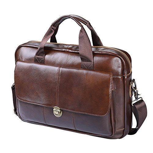 Herren Aktentasche Echt Leder,Unives Vintage 14 Zoll Laptoptasche Businesstasche Ledertasche Henkeltasche Umhängetasche Schultertasche, Braun