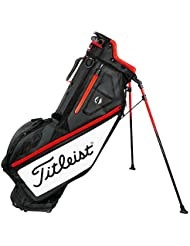Titleist Players 4 Golf Standbag – Ultra Ligero – Double To Single Sistema de cinturón, negro/blanco/rojo