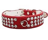 Animally® Edles Lederhalsband mit Glitzersteinen für Hunde (S, Rot)