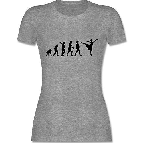 Evolution - Ballett Evolution Arabesque - XL - Grau meliert - L191 - Damen T-Shirt Rundhals