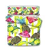 XWLIU Fruchtmuster Bettbezug-Set, Weiß Bright 1 Bettbezug 2 Match Kissenbezug Bettwäsche-Sets,H-220 * 260cm