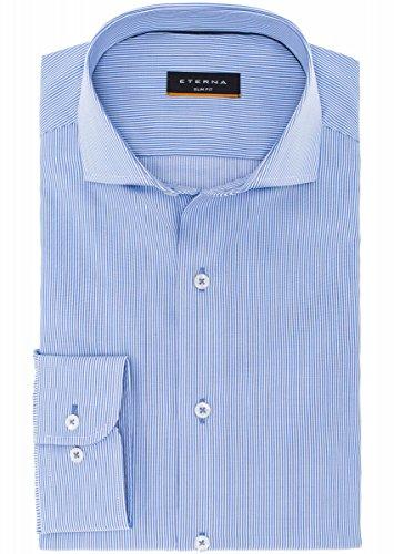 eterna Langarm Hemd Slim Fit Cotelé Gestreift Blau