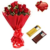 Valentines Day Gift of Fresh Flower Bouquet Combo (Bunch Of 12 Red Roses)