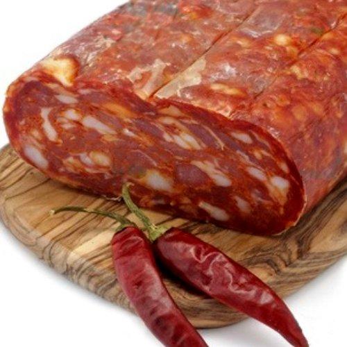 Spianata schiacciata artigianale salame piccante stagionato trancio 400 gr prodotti tipici calabrese sfizi di calabria