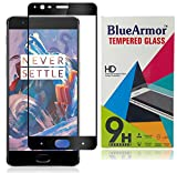 BlueArmor Premium Full Screen Coverage Tempered Glass Screen Guard Protector for OnePlus 3 One Plus Three / Oneplus 3T / One plus 3T ( Black )