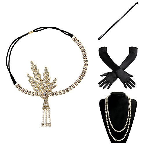 er Set Damen Gatsby Kostüm Accessoires Set inklusive Stirnband Halskette Handschuhe Zigarettenhalter (Set-20) (20 Paar Kostüm Ideen)