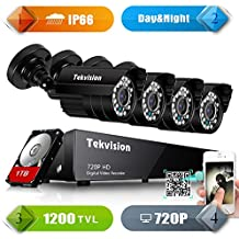 Red de seguridad Tekvision® sistema 720 P de 8 canales 960 horas al aire libre cámara de seguridad de vigilancia de sistema de alarma para HD 1 TB Disco duro interno