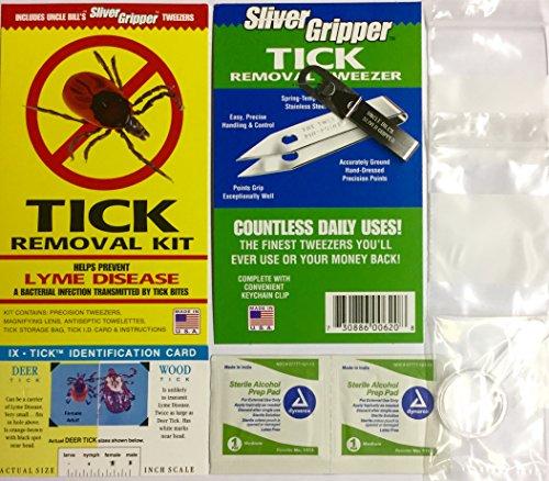 Uncle Bills Sliver Gripper Tick Removal Kit: Tweezers Lens & Antiseptic Towel - First Bag Safety
