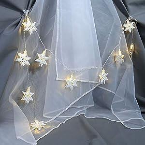 1.5M 10er Schneeflocke LED Lichterkette, Dapei Weihnachtsdekoration Warmweiß Stimmungslichter Batteriebetrieben ideal für Halloween Hochzeit Innen Party Neujahrsgeschenk