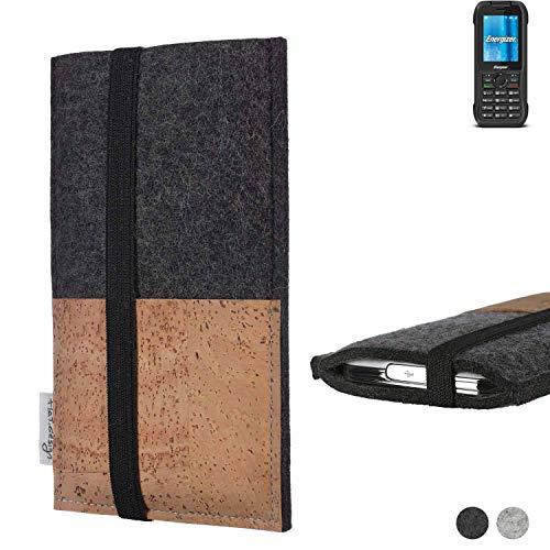 flat.design Handy Hülle Sintra für Energizer H240S Handytasche Filz Tasche Schutz Kartenfach Case Natur Kork